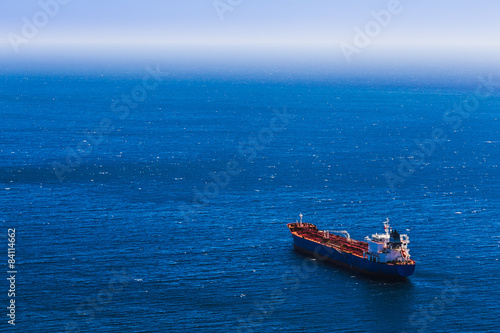 Aerial view to empty container cargo ship