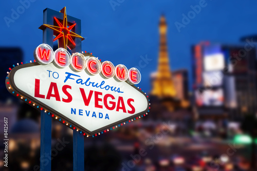 LAS VEGAS - MAY 12 : Welcome to fabulous Las Vegas neon sign wit Canvas Print