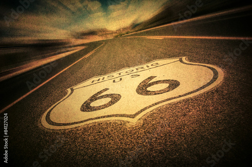 Aluminium Prints Route 66 Route 66 road sign with vintage texture effect