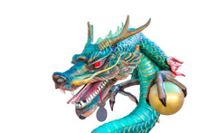 Green Dragon Statue Isolated On White Background