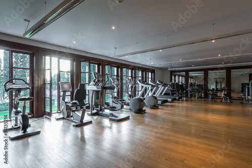 Poster Fitness Gym interior with equipment