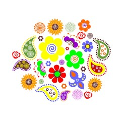 the Illustration dedicated to the beautiful flower ornament .