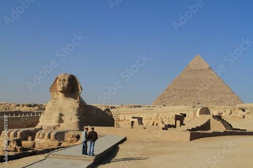 In de dag Egypte Die Pyramiden und Sphinx von Gizeh in Ägypten