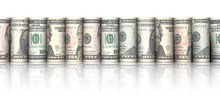 Line Of Rolled Dollar Bills