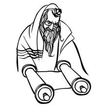 Jewish Man Reading Torah. Vector Illustration