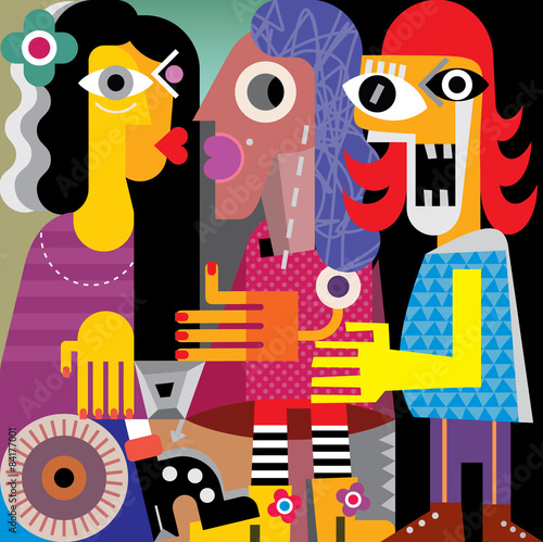 Poster Art abstrait Abstract portrait of three ugly women. Vector illustration.