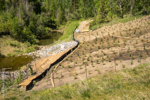 Fotografía Erosion control on a slope with straw sock catch, silt fence, st