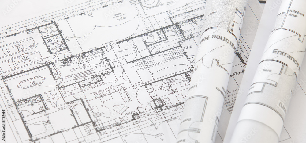 Fototapeta Architect rolls and architectural plan,technical project drawing