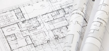 Architect Rolls And Architectural Plan,technical Project Drawing