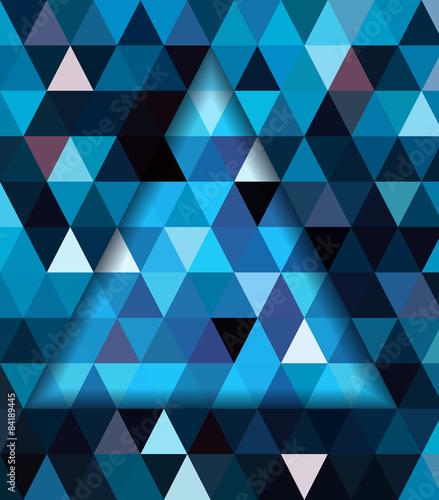 Keuken foto achterwand ZigZag Blue triangle and dark blue shadow background