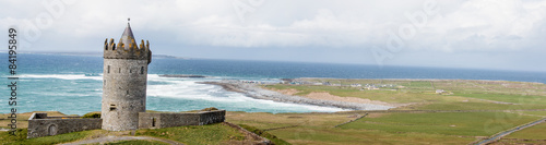 Doonagore Castle and the Aran Islands near Cliffs of Moher Ireland Canvas Print