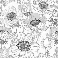 Panel Szklanyseamless floral pattern with anemone on white background