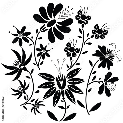 Poster Floral black and white Black Floral folk pattern in circle shape on white background