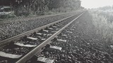 Railway in black and white mode.Used film filter.