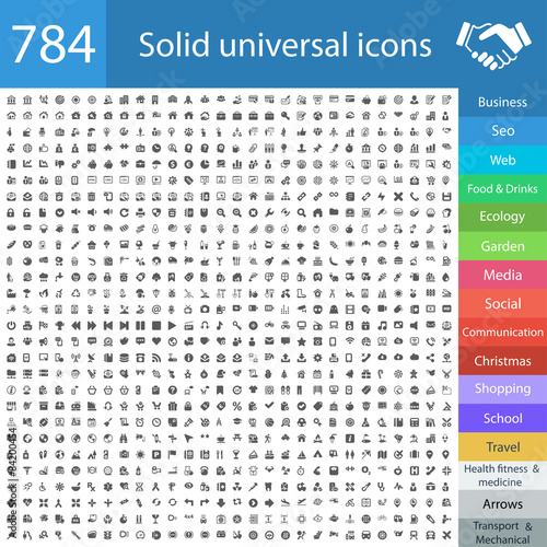 Fotografie, Obraz  784 solid universal icons