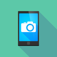 Long Shadow Phone Icon With A ...