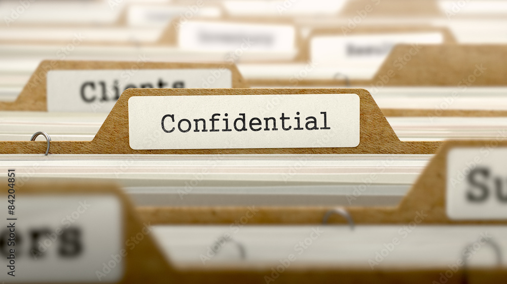 Fototapeta Confidential Concept with Word on Folder.