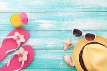Summer, Wooden Walkway, Beach Accessories Mock Up For Design
