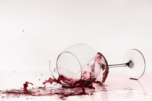 Broken Wineglass On The Table....