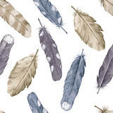 Watercolor feathers. Seamless pattern