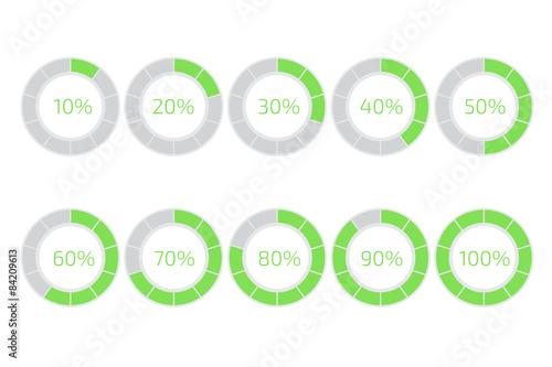Fotografía  Progress loading bar. Flat style vector. Set of ten