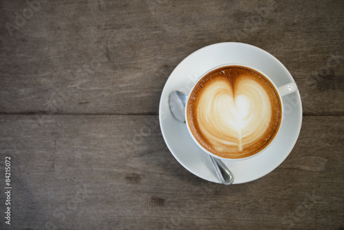 Fotografie, Tablou latte art coffee with heart shape