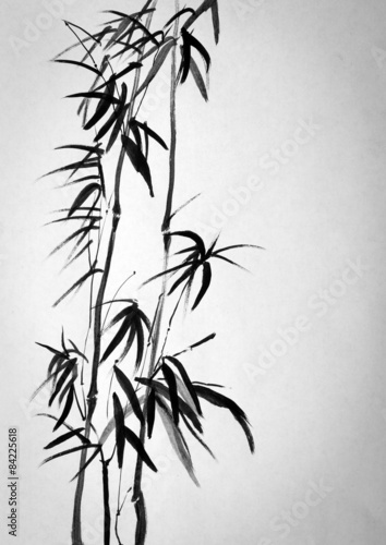 akwarela-dwa-tradycyjne-bambusowe-drzewka-na-jasnym-tle