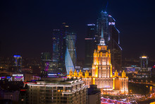 Moscow City And Stalin Skyscraper Night Aerial Panorama