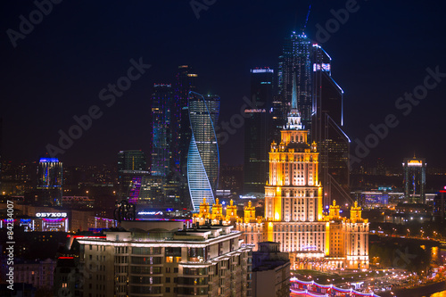 Poster Moscow Moscow City and Stalin skyscraper night aerial panorama