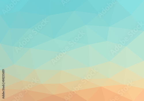 Poster Turquoise low polygon background polygon smooth gradient from blue to yell