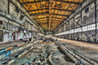 Decaying industrial hall in an abandoned factory