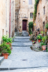 Obraz na Szkle Uliczki The streets of the old Italian city of Bagnoregio, Lazio