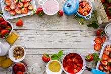 Strawberries - Strawberries Delight On Wooden Background, Frame