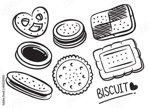 set of biscuit doodle Fotobehang