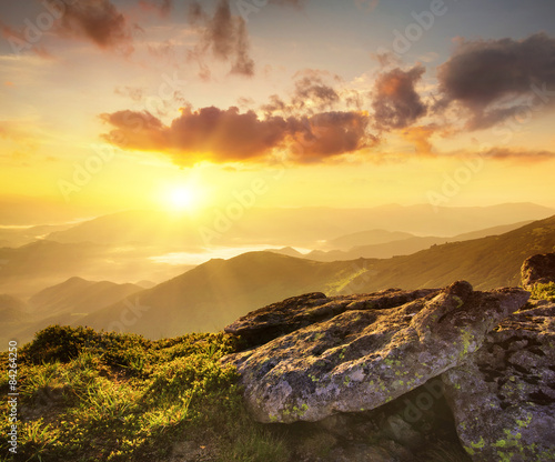 Rocks during sunrise. Beautiful summer landscape