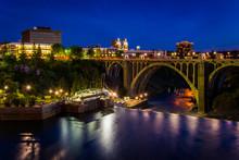 The Monroe Street Dam And Bridge At Night, In Spokane, Washingto