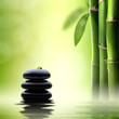 Zen concept. Black spa stones in green bamboo forest