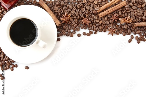 Fotografie, Obraz  Coffee cup with beans at the top on white