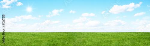 Foto auf Gartenposter Landschappen Green field and blue sky