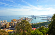 Panoramic View Of The Port Of Malaga, Costa Del Sol, Spain