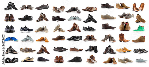 Obraz na płótnie Collection of male shoes over white background