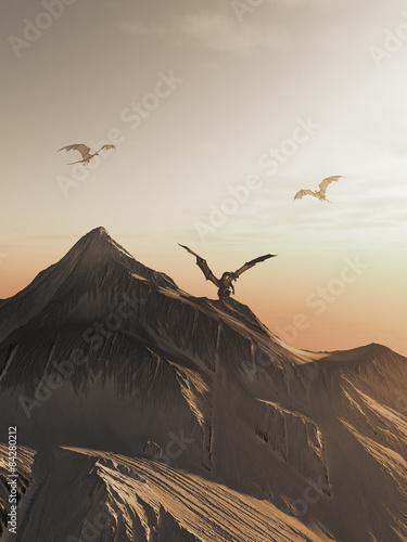 Plakat Smoka szczyt przy zmierzchem, fantazi ilustracja
