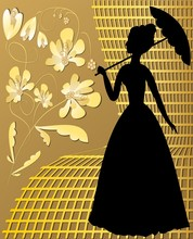 Lady Silhouette With Golden Vintage Flowers On Golden Grid