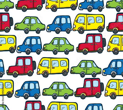 Foto op Aluminium Cartoon cars cartoon car seamless pattern