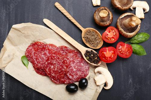 Foto op Plexiglas Steakhouse Food ingredients for cooking on wooden background