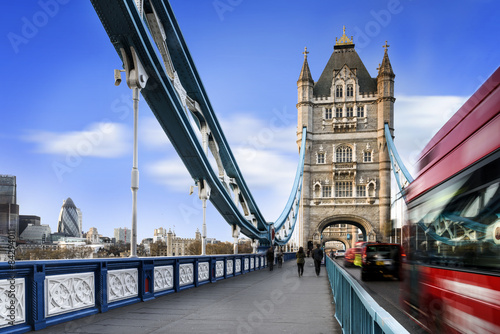Poster Londres bus rouge Tower Bridge, London city