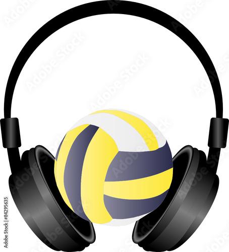 słuchawki i piłka siatkowa
