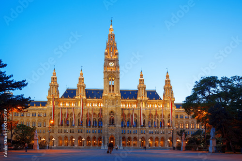 City Hall in the evening, Vienna, Austria