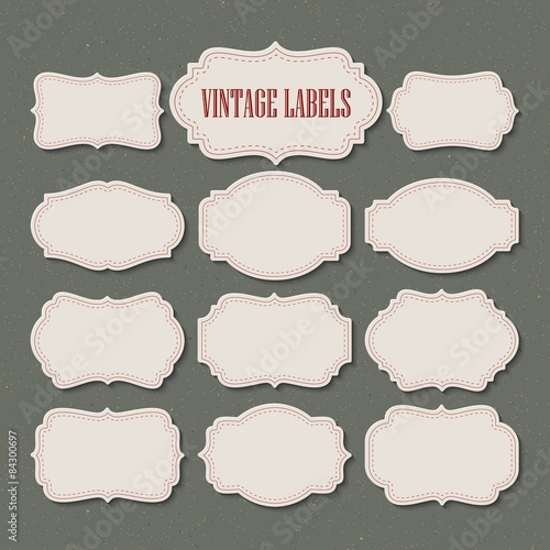 Fotografia  Vector set vintage labels and frame. Vector illustration