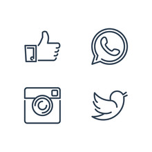 Line Designed Vector Icons Of ...